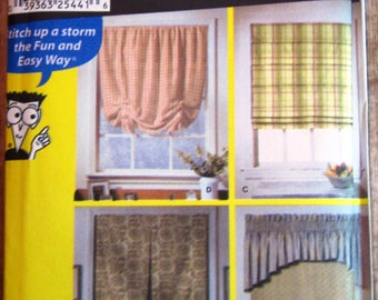Easy Sew Window Treatments: Shades, Valance Simplicity Pattern 9986 UNCUT