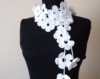 White Floral Scarf, Floral Scarf, White Floral Scarf, Crochet Floral Scarf Lariat Floral Scarf White Floral Croketed Scarf Gift For Her