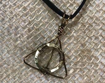 Deathly Hallows wire pendant necklace