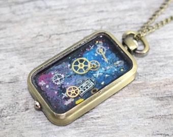 Doctor Who Pocket Watch Necklace | Doctor Who Jewelry | Whovian Jewelry | TARDIS Jewelry | Time Lord Jewelry | Cosplay Jewelry