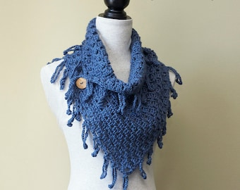 "Lightweight Scarf CROCHET PATTERN / Fringe Trim / Neck Warmer / Button Cowl / PDF Pattern / Made in Canada / ""Town & Country Cowl"""