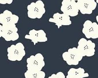 Birch Poppies Dusk Midnight Blue Organic Cotton Interlock Knit Fabric