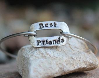 Best Friends Bangle Bracelet / Mantra Bangle / Best Friends / Gift for Best Friend / Mantra Bangle Bracelet / BFF Charm / White Copper
