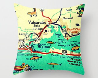 Destin Pillow Covers 18x18, Destin Gifts, Hostess Gift, Destin Airbnb Decor, Florida Throw Pillow, Aqua Accent Pillow, Map Throw Pillows