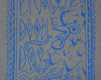 Draw N Doodle Doo notebook by Chickenpeepers Press -screen printed Moleskin notebook - hand pulled