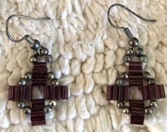 Purple Tube Bead Shield Earrings
