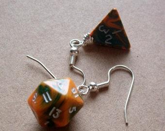 D4 D20 Dice Earrings - Toxic Orange - Orange Green Geek Gamer DnD Role Playing RPG