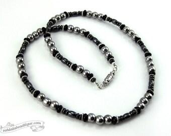Silver Black mens necklace, hematite necklace, silver necklace for men, modern mens necklace gift for man, mens beaded necklace for man