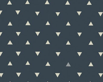 AGF KNIT Triangle Tokens Ink Metallic Fabric Cotton Fabric Jersey Knit  Art Gallery Navy Triangles Fabric Stretch Fabric Ink Metallic Fabric