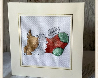Doggies Chritmas Stocking Cross Stitched Card 5.5 x 5.5 - Christmas, Dog, Stocking, Yule, Present, Hand Stitched