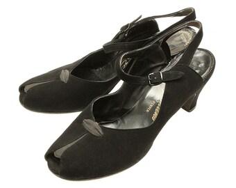 vintage 1940s heels • black suede peep toe pumps size 9.5 10