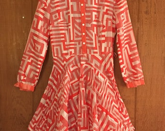 Vintage 70s coral pink & white geometric zig zag pleated sheer mini dress by Jobi size M