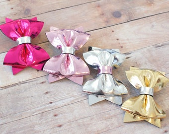 Metallic Simple Hair Bow - Choose you color - Hot Pink, Pink, Silver, Gold - Alligator Hair Clip - for all ages