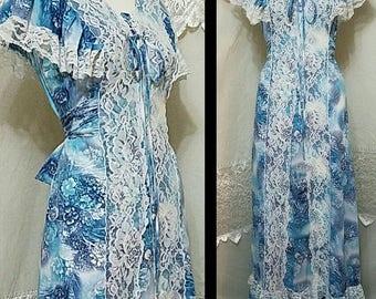 70s Dress Floral Print Maxi Dress / Gunne Sax * STYLE * / Prairie Tie Back BoHo Blue Ruffle / Wedding Dress Alternative Hippie Small Medium
