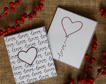 Handwritten Valentines Day Cards Printable Love Notes Color Yourself - 2 Count