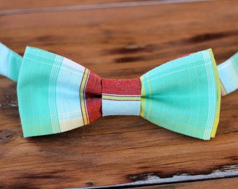 Mens Bow Tie - yellow red green madras print cotton bowtie - bow tie for men and teen boys - gift for him - mens wedding bow tie - mens ties