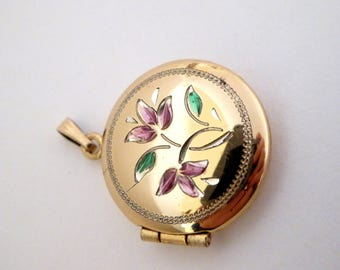 Antique 12K G.F. Pink Flower Locket