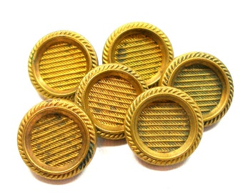 """6 Antique buttons, Victorian metal with imitation fabric design. 5/8""""."""