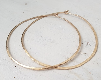 Hammered Hoop Earrings,Gold Hoop Earrings,Gold filled,Large Gold Hoops,2.5 inch Hoop Earrings,Earrings For Women,Minimalist Geometric Hoops