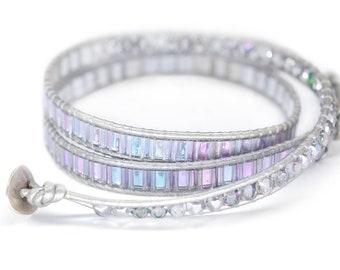 Miyuki Bracelet Beaded Wrap Bracelet Purple Bracelet Czech Bead Bracelet Seed Bead Bracelet Blue Wrap Bracelet Leather Wrap Bracelet Women
