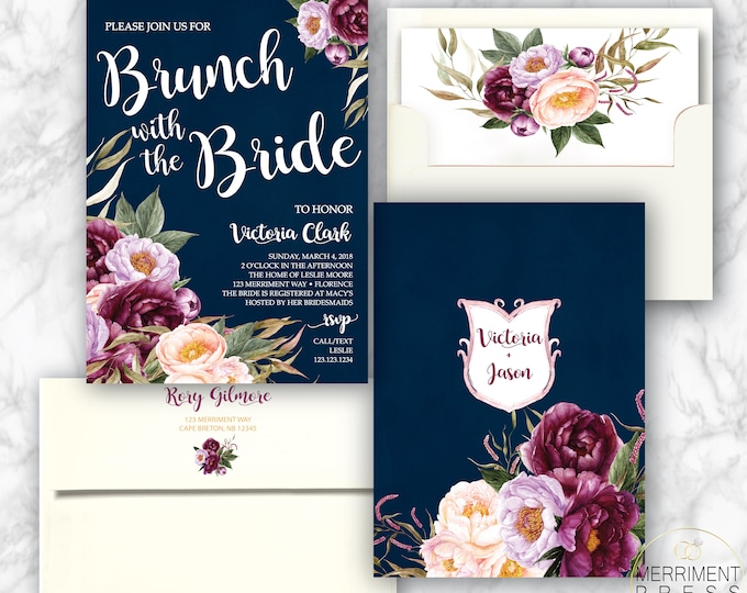 Burgundy Floral Brunch with the Bride Invitation / Bridal Shower / Navy / Watercolor / Purple / Pink / Gold /Flowers / FLORENCE COLLECTION