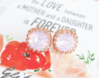 Emma - Swarovski Rose Water Opal light pink Crystal Crown Bridal Post Stud Earrings Cushion Cut Square 10mm Wedding Bridesmaids Gifts