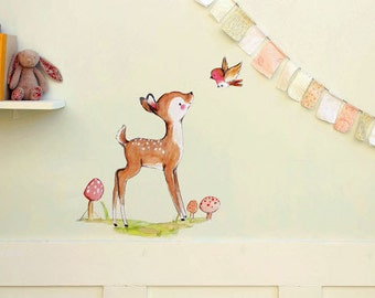 Forest nursery, woodland decor, A Little Bird Told Me, wall decal, Kit Chase artwork, reusable