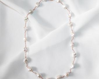 Elegant White Keshi Pearl Station Necklace, 14K Rose Gold Filled, Beaded Necklace, Bridal Necklace, Wedding Jewelry, June Birthstone
