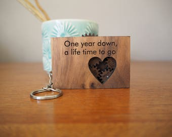 Wooden cogs and gears keyring - personalised keyring - gift for men - custom keyring - Father's Day Gift - gift for Dad from Baby - dad gift