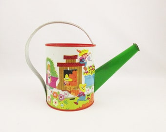 A Child's Watering Can From 'J. Chein' - Bright Red and Green - Litho of Farmers and Train - Vintage 1940s Display Piece - Play