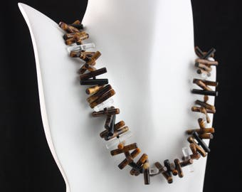 Tiger Eye, Rock Crystal and Black Onyx  3-D necklace with sterling silver catch
