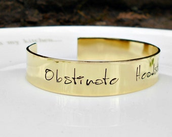 Jane Austen Quote Bracelet, Obstinate Headstrong Girl, Literary Quote, Jane Austen Jewelry, Pride and Prejudice, Literary Gifts.