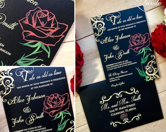 Beauty and the beast inspired wedding invitation with red rose and gold filigree Royal Disney princess tale as old as time be our guest