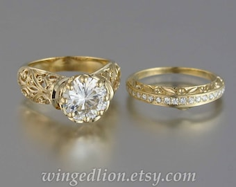 ODELIA 14K gold engagement ring wedding band set with 5ct