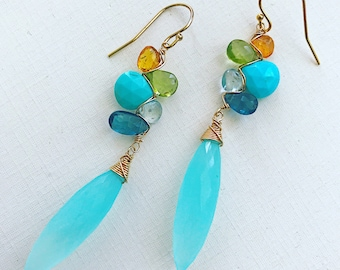 St. Tropez Woven Earrings with Chalcedony, Topaz, turquoise, Mandarin Garnet and Peridot