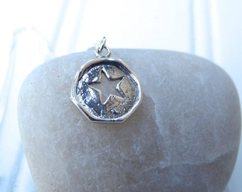 Sterling Silver Star Cutout Necklace, Star Necklace, Charm Necklace, Silver Star Cutout Necklace, Silver Star Cutout Pendant
