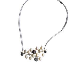 Pearl necklace/unique pearl pendant /modern silver pearl necklace/ designer jewelry/design/contemporaray jewelry /exclusive
