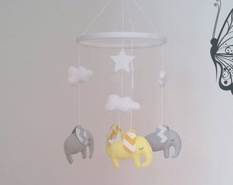 Light yellow and light grey elephants baby mobile with chevron ears - cute little nursery mobile made to order
