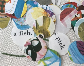 Circle Confetti, Hand Punched From Vintage Children's Books,