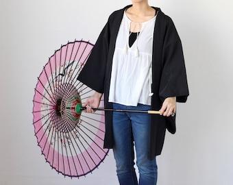 haori black, kimono, Japanese kimono, black kimono, black jacket, silk kimono, cool jacket, women jacket, vintage kimono, great gift /2554