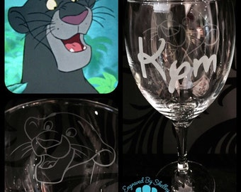 Personalised Jungle Book, Bagheera Wine Glass With Free Name Engraved! Totally Unique Gift For Any Disney Fan!