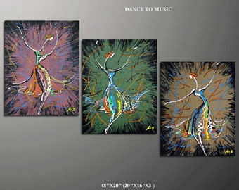 Abstract Painting, 48'' Original Contemporary Palette Kinfe Impressionism Fine Art Textured Painting  48x20