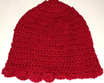 Red Scallop Crochet Hat