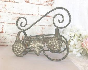 Vintage Wine Bottle Holder Rack, Pewter Iron Metal tilted Display Stand, grapes leaves motif, Carrier Ornate floral detail formal dinning