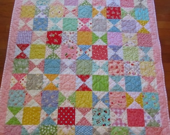 Scrappy Baby Girl Quilt - Toddler, Crib, Nursery - Sweet!
