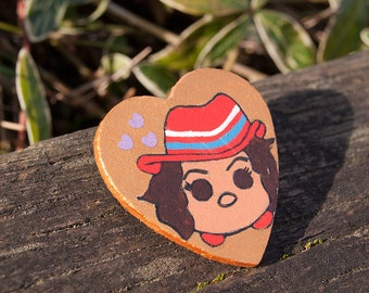 Marvel Agent Peggy Carter Tsum Tsum - Captain America Custom Hand Painted Wooden Pin - Cute Adorable Heart Badge Button Feminist Gift