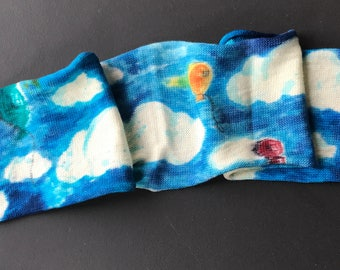 Hand dyed super wash Merino and nylon sock blank 'Dutch sky'