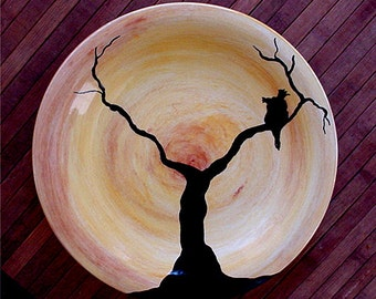 Yellow and rust red Owl tree pottery dinner plate birds owls trees rustic primitive fall colors rustic home custom pottery fall wedding more