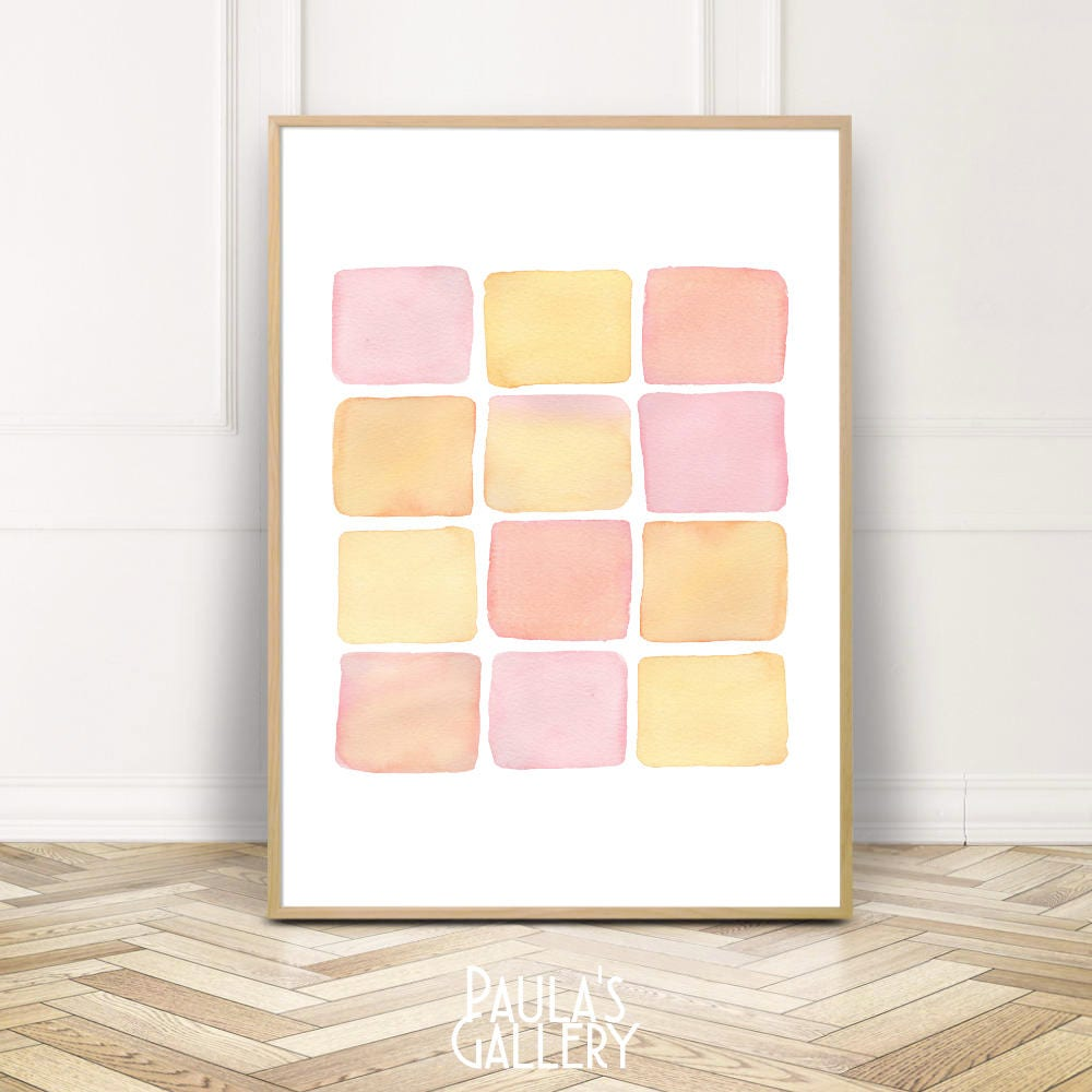 Blush Pink Bedroom Watercolor Print Wall DecorLarge Nursery