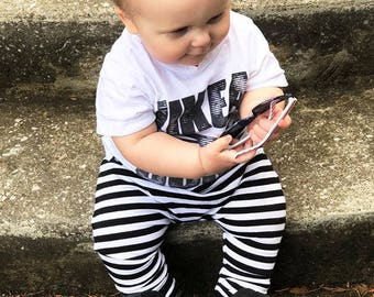 Striped baby harems - baby harems - baby pants - striped baby pants - black and white stripes